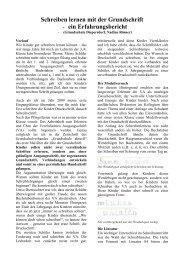 Schreiben lernen mit der Grundschrift - Grundschulverband-Bayern