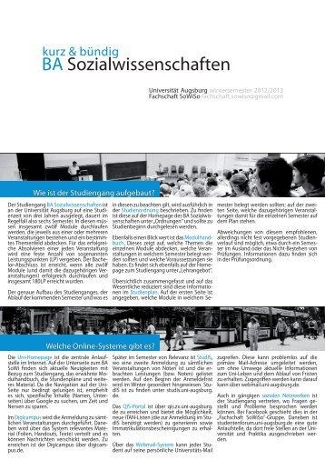 kurz & bündig BA Sozialwissenschaften - Fachschaft SoWiSo