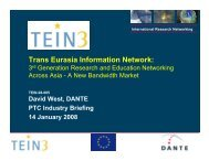3rd Generation Research and Education Networking Across ... - TEIN3