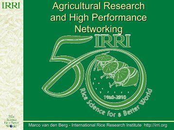 Agricultural Research and High Performance Networking - TEIN3