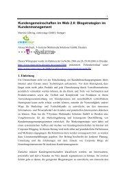 Kundengemeinschaften im Web 2.0: Blogstrategien ... - centrestage.de