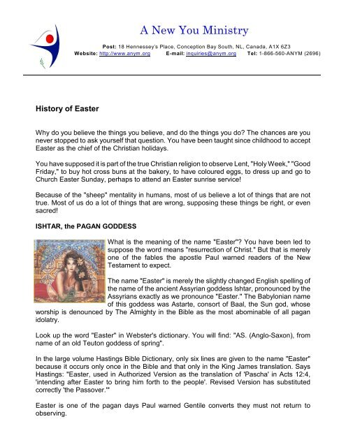 History of Easter - A New You Ministry