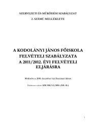 FELVÉTELI SZABÁLYZAT - Kodolányi János Főiskola