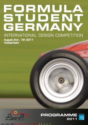 PROGRAMME 2011 - Formula Student Germany
