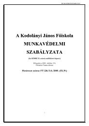 Munkavédelmi szabályzat - Kodolányi János Főiskola