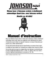 Manuel d'instruction - Johnson Level