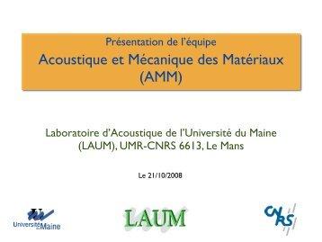 Acoustique et Mécanique des Matériaux (AMM) - Université du Maine