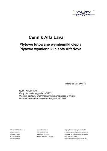 Cennik Alfa Laval - Instalbud