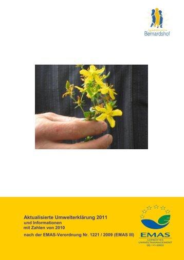 Aktualisierte Umwelterklärung 2011 - Jugendhilfezentrum Bernardshof