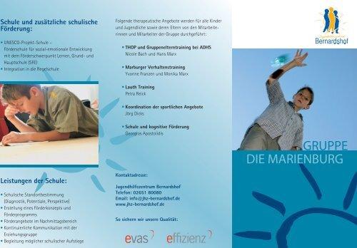Flyer Gruppe DIE MARIENBURG herunterladen (PDF-Format)