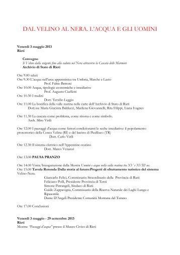Progetto acqua Rieti – Terni - Archivio di Stato di Rieti