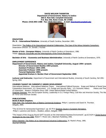 DAVID WELDON THORNTON Department of ... - Campbell