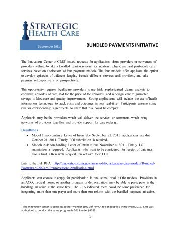 BUNDLED PAYMENTS INITIATIVE - Strategic Health Care