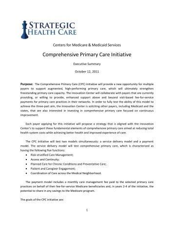 Comprehensive Primary Care Initiative - Strategic Health Care