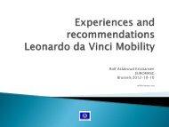 Experiences and recommendations Leonardo da Vinci Mobility