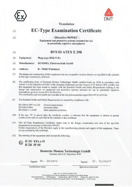 Bvs 03 Atex E 298 En Hummel Ag