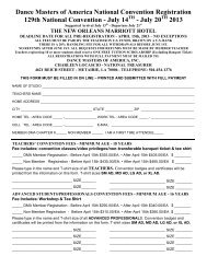National Convention Registration Form - Dance Masters Of America