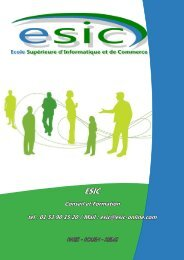 Conseil et Formation tel : 01 53 90 15 20 / Mail : esic ... - Groupe ESIC