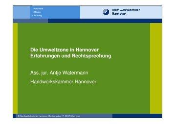Die Umweltzone in Hannover Erfahrungen und Rechtsprechung Ass ...