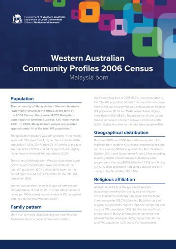 Western Australian Community Profiles 2006 Census-Malaysia Born