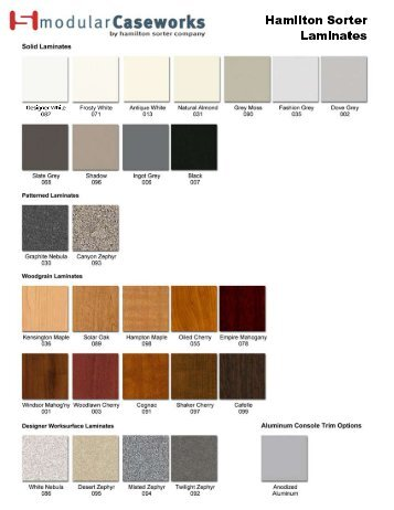 Hamilton Standard Laminate ColorChart - Modern Office Systems