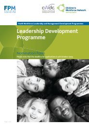 Leadership Development Programme - Partnership for Young London