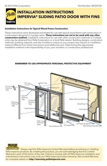 Pella Door Installation Instructions 358 x 553