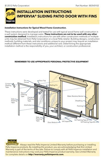 Installation Instructions Impervia Sliding Patio Door With