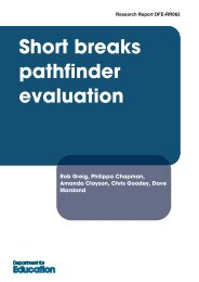 Short breaks pathfinder evaluation - Partnership for Young London