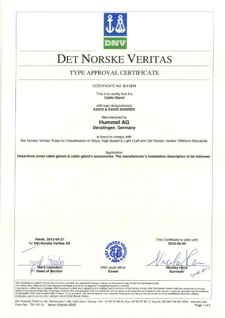 DNV-E-11674 - Hummel AG
