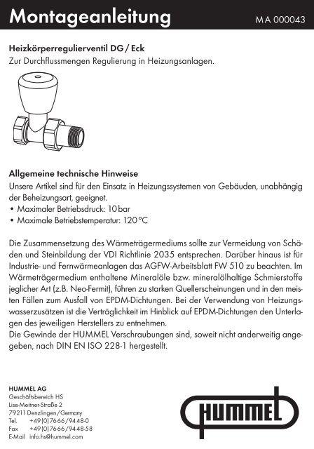 Heizkörperregulierventil DG / Eck - Hummel AG