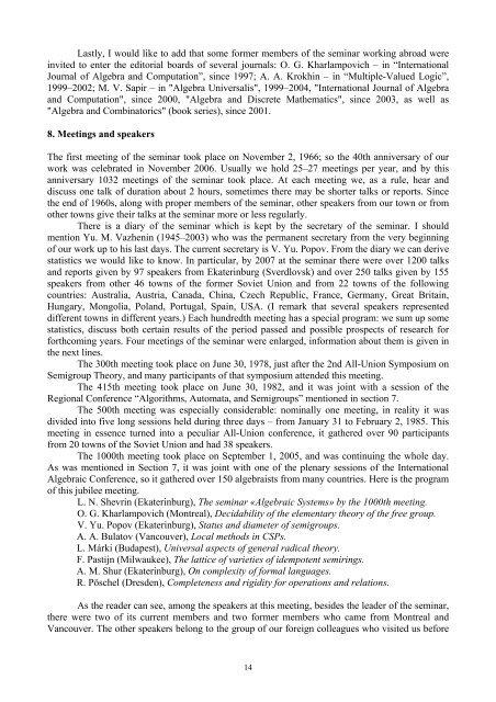 "The Ekaterinburg seminar ""Algebraic Systems"": 40 years of activities"