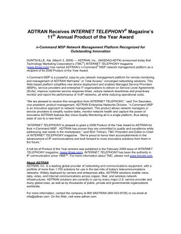 ADTRAN Receives INTERNET TELEPHONY ... - Jenne Inc.