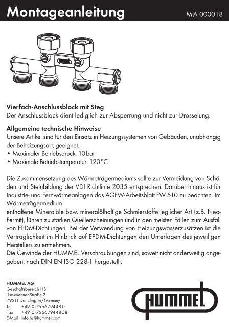 Vierfach-Anschlussblock mit Steg - Hummel AG