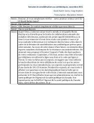 Semaine de sensibilisation aux antibiotiques, novembre 2011 David ...