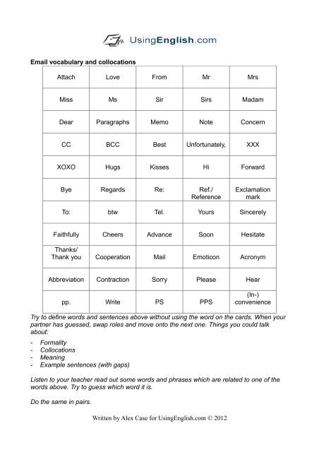 Business English- Email Vocabulary & Collocations