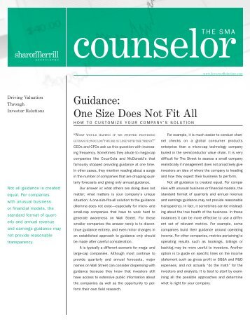 Guidance: One Size Does Not Fit All