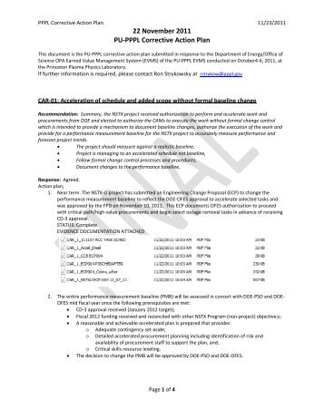 Corrective Action Plan for CARs and CIOs submitted - PPPL EVMS ...
