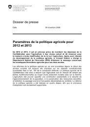Dossier de presse Paramètres de la politique agricole pour ... - vslg.ch