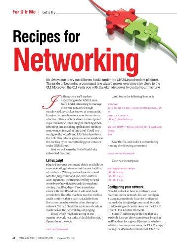 Recipes for Networking - Sarath Lakshman