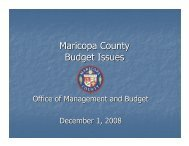 Maricopa County Budget Issues - County Supervisors Association
