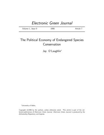 Electronic Green Journal - University of Idaho