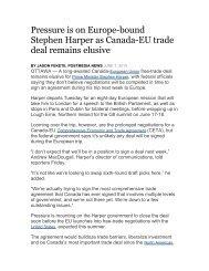Pressure is on Europe-bound Stephen Harper as Canada-EU trade ...