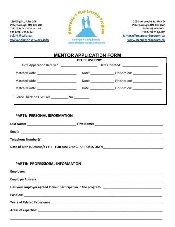 Mentor application form 33 strong for Mentoring application templates