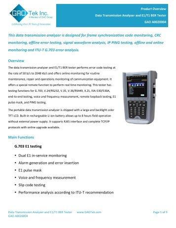 Data Transmission Analyzer and E1/T1 BER Tester - GAO Tek Inc.