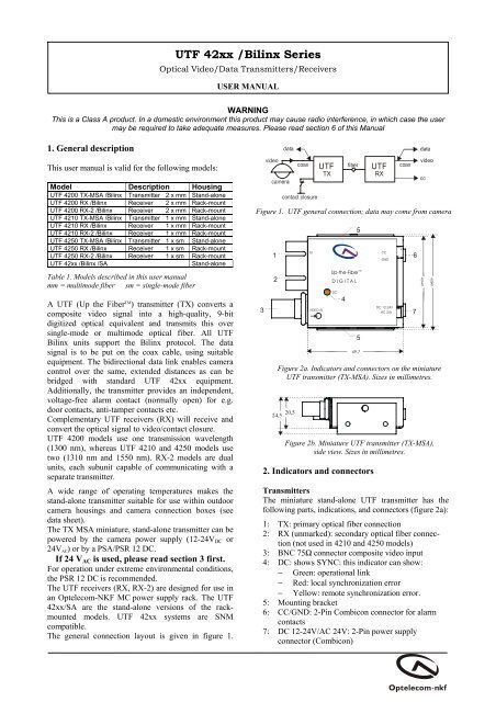 Optical Video/Data Transmitters/Receivers - Connectinfo
