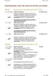 Kursprogramm 2003 - Ländliche Reiter und Fahrer in Niederösterreich