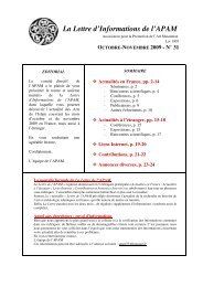 La Lettre d'Informations de l'APAM - Ernst-Herzfeld-Gesellschaft