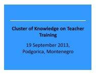 Cluster of Knowledge on Teacher Training 19 September ... - ERI SEE