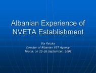 Ilia Paluka: Albanian Experience of NVETA Establishment - ERI SEE